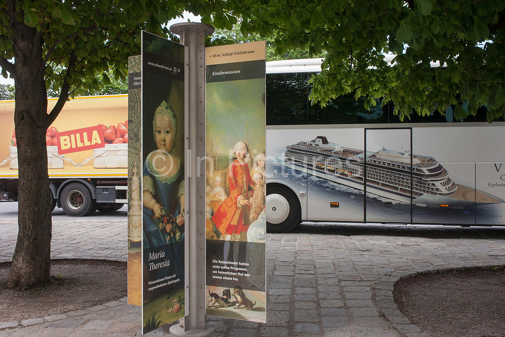 Royal faces from an old empire with a three year-old Maria Theresia and a portrait of some of her 16 children incl Marie Antoinette with a modern day Austria outside Schloss Schonbrunn palace on 27th June 2016, in Vienna, Austria. The cruise line image is for the Viking Line whose tourists are inside the nearby royal apartments. Maria Theresa Walburga Amalia Christina 1717–1780 was the only female ruler of the Habsburg dominions and the last of the House of Habsburg. She was the sovereign of Austria, Hungary, Croatia, Bohemia, Transylvania, Mantua, Milan, Lodomeria and Galicia, the Austrian Netherlands and Parma.