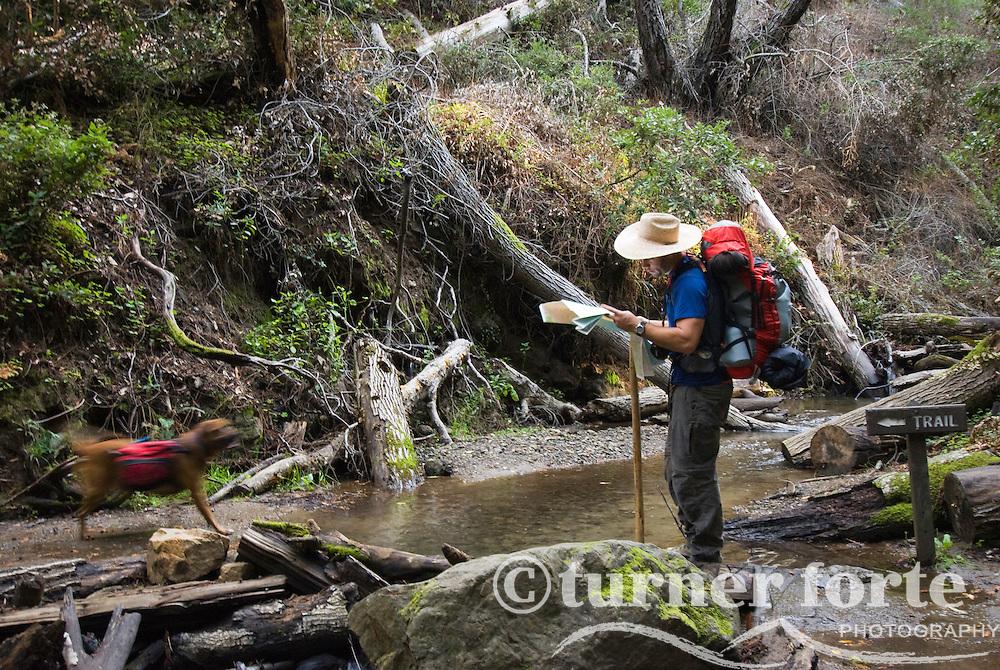 Reading the topo map on Pine Ridge Trail, Big Sur, California.