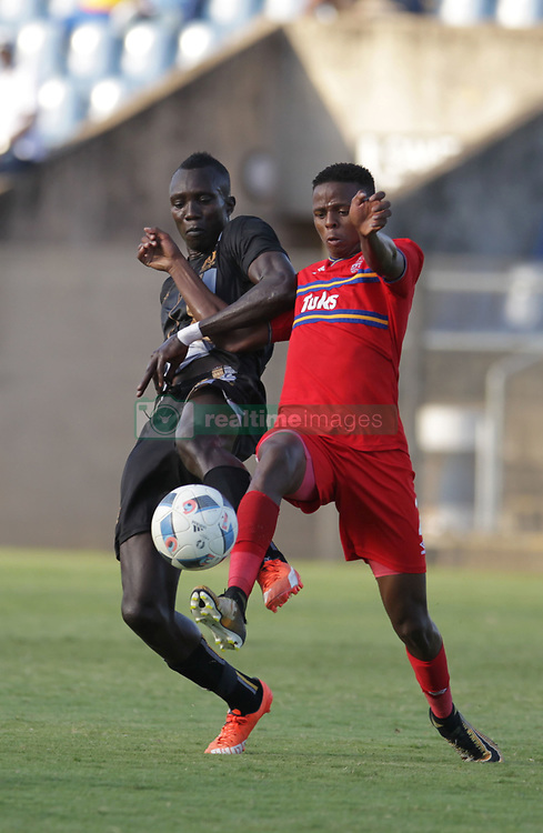 01042018 (Pietermaritzburg) Mame Niang plays with a ball when Royal Eagles played a nil draw against the university of Pretoria yesterday At Harry Gwala stadium.<br /> Picture: Motshwari Mofokeng