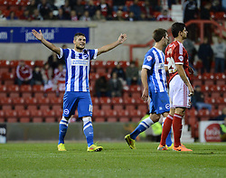 Brighton and Hove Albion's Jake Forster-Caskey celebrates his penalty. - Photo mandatory by-line: Alex James/JMP - Mobile: 07966 386802 25/08/2014 - SPORT - FOOTBALL - Swindon - County Ground - Swindon Town v Brighton   - League Cup-