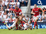 Wales' Jamie Roberts juggles the ball as he is hit by England's Courtney Laws during the The Old Mutual Wealth Cup match England -V- Wales at Twickenham Stadium, London, Greater London, England on Sunday, May 29, 2016. (Steve Flynn/Image of Sport)