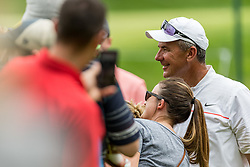 May 29, 2019 - Dublin, OH, U.S. - DUBLIN, OH - MAY 29: Former Ohio State Buckeyes head coach Urban Meyer poses for photos with fans during the Pro-Am of the Memorial Tournament presented by Nationwide at Muirfield Village Golf Club on May 30, 2018 in Dublin, Ohio. (Photo by Adam Lacy/Icon Sportswire) (Credit Image: © Adam Lacy/Icon SMI via ZUMA Press)