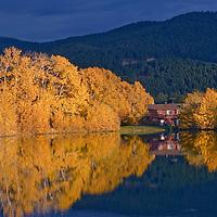 Fall-colored cottonwoods & aspens surround house & Mystic Heights Pond, near Bozeman Montana.
