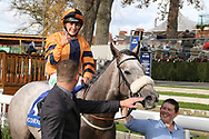 MAJOR JUMBO (4) ridden by Josephine Gordon and trained by Kevin Ryan enter the Winners Enclosure and jockey Josephine Gordon gives the thumbs up and celebrates after winning The Coral Sprint Trophy over 6f (£100,000)   during the October Finale meeting at York Racecourse, York, United Kingdom on 13 October 2018. Pic Mick Atkins