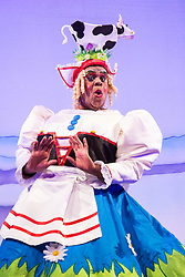 """Hackney Empire Theatre, London, November 25th 2015.  Hackney Empire presents Jack and the Beanstalk as their 2015 Christmas pantomime. London's most famous panto will star Hackney Empire's own Olivier nominated dame Clive Rowe as Dame Daisy Trott, Olivier Award-nominated Bodyguard actress Debbie Kurup as Jack and Hackney Panto favourite Kat B as Snowman. Written and directed by Creative Director Susie McKenna, with music by Steven Edis. PICTURED: Clive Rowe - """"Dame Daisy Trott""""."""