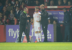 Liverpool Manager Jurgen klopp prepares Joe maguire of Liverpool before he comes onto the pitch. - Mandatory byline: Alex James/JMP - 08/01/2016 - FOOTBALL - St James Park - Exeter, England - Exeter City v Liverpool - FA Cup Third Round