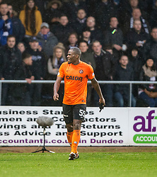 Stuff thrown at Dundee United's Guy Demel from the Dundee fans at the end of the first half. <br /> Dundee 2 v 1  Dundee United, SPFL Ladbrokes Premiership game played 2/1/2016 at Dens Park.
