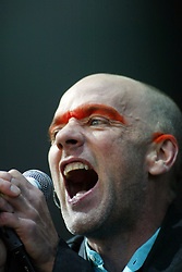 Michael Stipe, of the band REM, headline the main stage on Saturday, T in the Park 2003..Pic: © Michael Schofield.