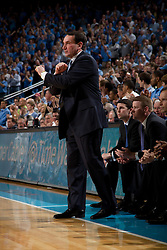 CHAPEL HILL, NC - MARCH 05: Head coach Mike Krzyzewski of the Duke Blue Devils coaches his team while playing the North Carolina Tar Heels on March 05, 2011 at the Dean E. Smith Center in Chapel Hill, North Carolina. North Carolina won 67-81. (Photo by Peyton Williams/UNC/Getty Images) *** Local Caption *** Mike Krzyzewski