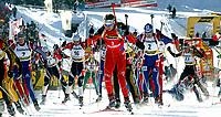 Skiskyting<br /> Verdenscup Pokljuka Slovenia<br /> 11.01.2004<br /> Foto: Digitalsport<br /> Norway Only<br /> <br /> Sergei Tchepikov (RUS), Vincent Defrasne (FRA), Ole Einar Bjørndalen (NOR), Sergei Rozhkov (RUS), Sergei Konovalov (RUS) und Michael Greiss (GER)