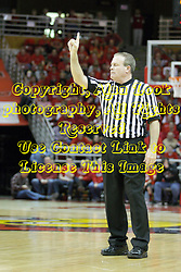 17 February 2013: referee Gerry Pollard calls 1st horn  during an NCAA Missouri Valley Conference mens basketball game where the Shockers of Wichita State played the Illinois State Redbirds  in Redbird Arena, Normal IL