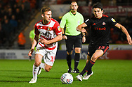Herbie Kane of Doncaster Rovers (15) tries to get past Luke O'Nien of Sunderland (13) during the EFL Sky Bet League 1 match between Doncaster Rovers and Sunderland at the Keepmoat Stadium, Doncaster, England on 23 October 2018.