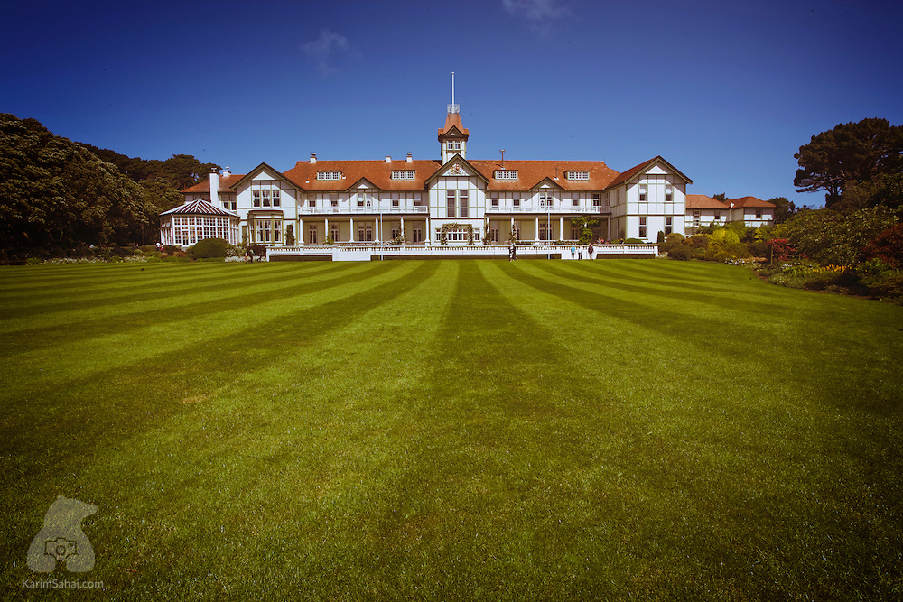 Government House, Wellington, New Zealand. The 1910 two-story house is the residence of the New Zealand Governor-General, the representative of the Monarch of New Zealand.