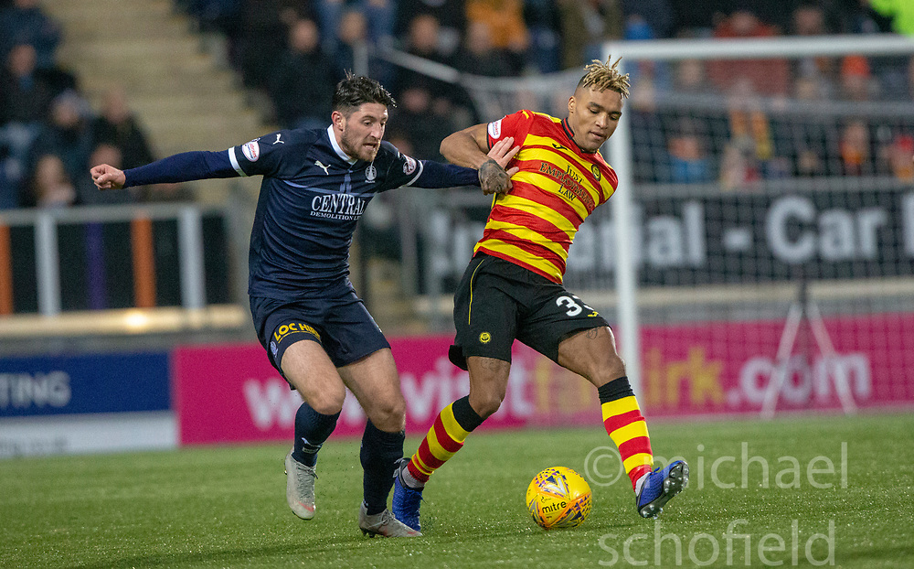 Falkirk's Paul Paton and Partick Thistle's Jai Quitongo. Falkirk 1 v 1 Partick Thistle, Scottish Championship game played 17/11/2018 at The Falkirk Stadium.
