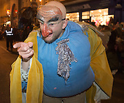 25/10/2015  Jonathon Gunning from Vikings in the  Macnas parade on the streets of Galway.<br />  'The Shadow Lighter' featured the new Macnas character of Danu – a 15 ft high wild woman, the shadow lighter mistress of old stories, magic and medicine. Alongside her walked Danu's spirit animal, The Wolf of Danu, a beautiful, strong and fierce wolf, circling around Danu to protect her.  <br /> <br /> DUBLIN MONDAY NIGHT.<br /> Macnas will close the Bram Stoker Festival at twilight on Monday 26th October. In what is set to be another breath-taking citywide procession, Dublin's city streets will transform as the journey of Danu takes place, beginning in 3 city centre locations at 5.30pm with a final gathering in Wolfe Tone Square. This is a deadly adventure given life on the streets of Dublin.  Procession routes will be available to see and download from bramstokerfestival.com .Photo:Andrew Downes, xposure