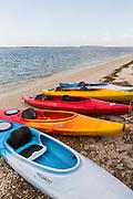Colorful kayaks along the beach at Sea Pines Plantation on Hilton Head Island, SC