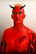 Stephen Fraser dressed as a devil at the Glastonbury festival 2007