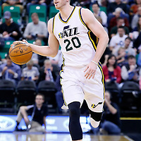 09 December 2015: Utah Jazz forward Gordon Hayward (20) brings the ball up court during the Utah Jazz 106-85 victory over the New York Knicks, at the Vivint Smart Home Arena, Salt Lake City, Utah, USA.