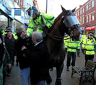 The English Defence League (EDL) were demonstrating in Preston against extreme Islam. An attempt at a peaceful protest was marred by heavy-handed police tactics in the management of the crowd. Preston, UK, 27/11/2010