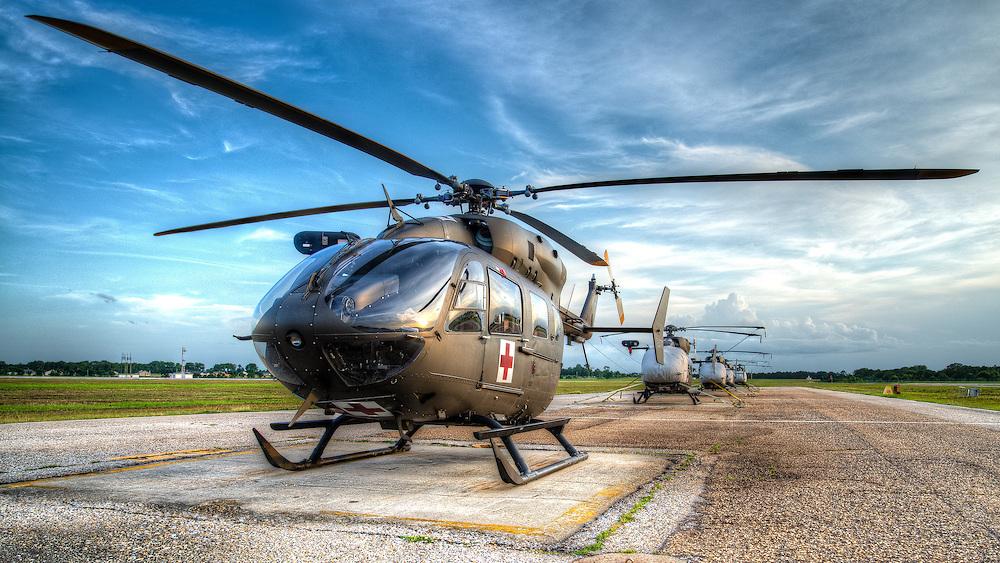 "UH-72 ""Lakota"" MEDEVAC platform ready for mission on the pad in Southwest Alabama"