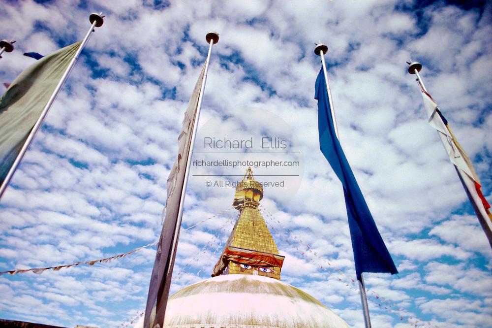 The Great Boudhanath buddhist stupa and prayer flags in Bouddha, Nepal.