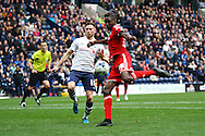 Sammy Ameobi of Cardiff City looks to shoot. Skybet football league championship match, Preston North End v Cardiff City at the Deepdale stadium in Preston, Lancashire on Saturday 17th October 2105.<br /> pic by Chris Stading, Andrew Orchard sports photography.