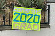 Congratulations Class of 2020 signage for a UC San Diego graduate at 702 S. Ynez Ave. amid the global coronavirus COVID-19 pandemic, Thursday, June 18, 2020, in Monterey Park, Calif.