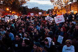 November 11, 2016 - Columbus, Ohio, U.S - Around 300 anti-Trump protesters attended tonight's demonstration in Columbus,Ohio November,11,2016 marching from the oval at The Ohio State University down High St. taking up the corner of the street. Different individuals spoke, voicing their disdain for President Elect-Donald Trump and calling for change. (Credit Image: © Seth Herald via ZUMA Wire)