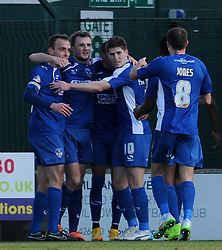 Oldham Athletic's Carl Winchester celebrates his sides goal  - Photo mandatory by-line: Harry Trump/JMP - Mobile: 07966 386802 - 07/03/15 - SPORT - Football - Sky Bet League One - Yeovil Town v Oldham Athletic - Huish Park, Yeovil, England.
