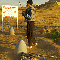 December 12th 2003. Mosul, Northern Iraq.Golf course on US Army base. An officer at the 101st Airborne base in Mosul, Northern Iraq has built a six hole golf course, by location it is probably the most hostile in the world and is reckoned to Iraq's first and only course.