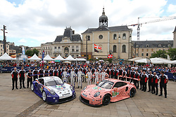 June 11, 2018 - Le Mans, FRANCE - 91 PORSCHE GT TEAM (DEU) PORSCHE 911 RSR GTE RICHARD LIETZ (DEU) GIANMARIA BRUNI (ITA) FREDERIC MAKOWIECKI (FRA) #92 PORSCHE GT TEAM (DEU) PORSCHE 911 RSR GTE LAURENS VANTHOOR (BEL) KEVIN ESTRE (FRA) MICHAEL CHRISTENSEN  (Credit Image: © Panoramic via ZUMA Press)