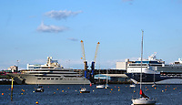 One of the  world's biggest super-yacht has arrived in Southampton after a week-long voyage from Barcelona .The Dilbar is the fourth largest yacht in the world by length but the biggest in terms of gross tonnage (15,917) and interior volume , said to be worth  $650m Photo by Michael Palmer