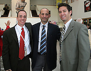 28 August 2006: Major League Soccer commissioner Don Garber (c) with MLS Director of Communications Will Kuhns (l) and MLS Senior VP of Marketing and Communications Dan Courtemanche (r). The National Soccer Hall of Fame Induction Ceremony was held at the National Soccer Hall of Fame in Oneonta, New York.