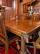 Carved sheep on formal dinner table corner, Residence, Hubbell Trading Post, National Historic Site, Ganado, Arizona