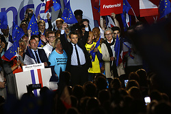 April 26, 2017 - Arras, France - French presidential election candidate for the En Marche ! movement, Emmanuel Macron (C) reacts during a campaign rally in Arras, northern France, on April 26, 2017 as he campaigns ahead of the run-off of the French presidential election. (Credit Image: © Mehdi Taamallah/NurPhoto via ZUMA Press)