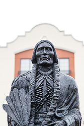 Bronze statue of Comanche Chief Quanah Parker, Fort Worth Stockyards National Historic District, Fort Worth, Texas, USA.