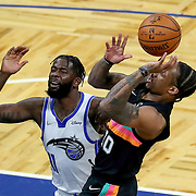 ORLANDO, FL - APRIL 12: James Ennis III #11 of the Orlando Magic fouls DeMar DeRozan #10 of the San Antonio Spurs during the first half at Amway Center on April 12, 2021 in Orlando, Florida. NOTE TO USER: User expressly acknowledges and agrees that, by downloading and or using this photograph, User is consenting to the terms and conditions of the Getty Images License Agreement. (Photo by Alex Menendez/Getty Images)*** Local Caption *** James Ennis III; DeMar DeRozan