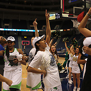 Skylar Diggins, Notre Dame, dances with team mates after the Connecticut V Notre Dame Final match won by Notre Dame 61-59 during the Big East Conference, 2013 Women's Basketball Championships at the XL Center, Hartford, Connecticut, USA. 11th March. Photo Tim Clayton