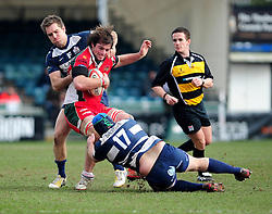 Plymouth Albion replacement (#18) Sam Hocking is tackled from the front by Bristol replacement (#17) Bruce Douglas - Photo mandatory by-line: Dougie Allward/JMP - Tel: Mobile: 07966 386802 31/03/2013 - SPORT - RUGBY - Memorial Stadium - Bristol. Bristol v Plymouth Albion - RFU Championship.