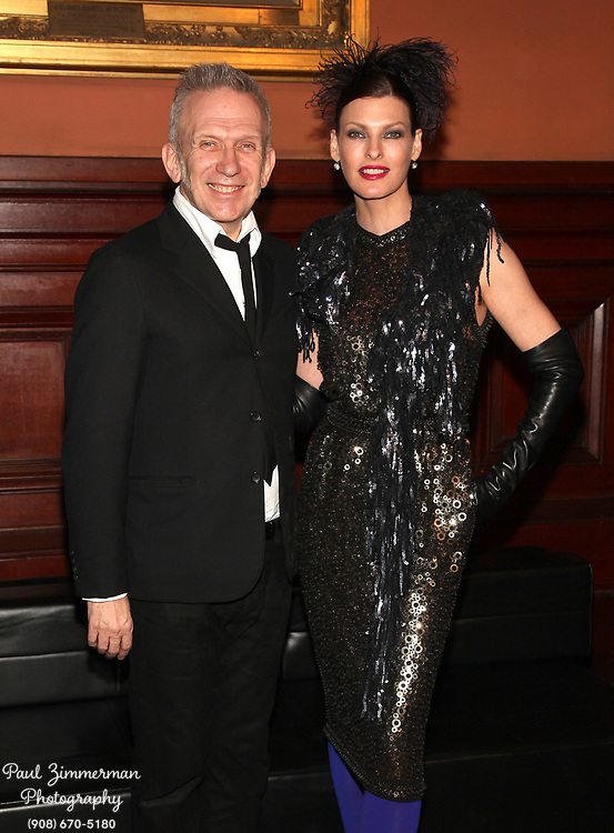 NEW YORK, NY - MARCH 17:  (L-R) Fashion designer Jean Paul Gaultier and Linda Evangelista attend the Lycee Francais de New York 2012 gala at the Park Avenue Armory on March 17, 2012 in New York City.  (Photo by Paul Zimmerman/WireImage)