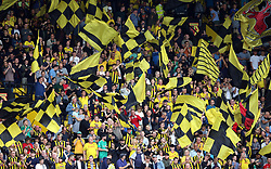 """Watford fans during the Premier League match at Vicarage Road, Watford PRESS ASSOCIATION Photo. Picture date: Saturday September 15, 2018. See PA story SOCCER Watford. Photo credit should read: Nigel French/PA Wire. RESTRICTIONS: EDITORIAL USE ONLY No use with unauthorised audio, video, data, fixture lists, club/league logos or """"live"""" services. Online in-match use limited to 120 images, no video emulation. No use in betting, games or single club/league/player publications."""