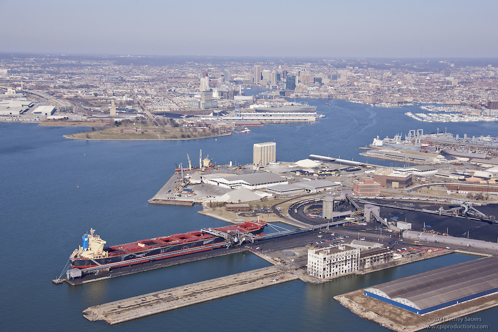 Baltimore Patapsco River aerial photography of shipping terminal CNX with United Aventure coal ship