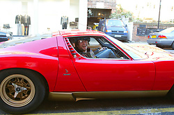 Jay Kay from Jamiroquai breaks down in his red sports car on the Kings Road in London on the day that the public have to pay to drive in central London.<br /><br />©doug peters/allaction.co.uk