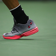 2017 U.S. Open Tennis Tournament - DAY TWO. The feet of Rafael Nadalof Spain in action against DusanLajovic of Serbia during the Men's Singles round one match at the US Open Tennis Tournament at the USTA Billie Jean King National Tennis Center on August 29, 2017 in Flushing, Queens, New York City.  (Photo by Tim Clayton/Corbis via Getty Images)