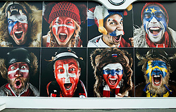 Pictures of painted fans at Day 5 of 2015 IIHF World Championship, on May 5, 2015 in CEZ Arena, Ostrava, Czech Republic. Photo by Vid Ponikvar / Sportida