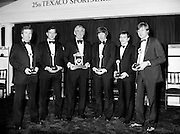 Texaco Sportstars of the Year awards. Pictured at the awards ceremony in the Burlington Hotel, Dublin, are (l–r): Noel Skehan, Hurling; Martin Furlong, Football; Ronnie Delaney, Athletics, Hall of Fame; Ollie Campbell, Rugby; Barry McGuigan, Boxing; and Alex Higgins, Snooker.