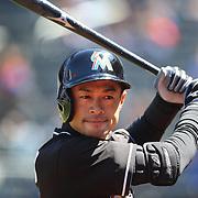 NEW YORK, NEW YORK - APRIL 13: Ichiro Suzuki, Miami Marlins, preparing to bat during the Miami Marlins Vs New York Mets MLB regular season ball game at Citi Field on April 13, 2016 in New York City. (Photo by Tim Clayton/Corbis via Getty Images)