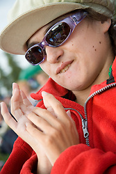 Young girl with cerebral palsy enjoying herself at the Cropredy Festival  Fairport's Cropredy Convention  2005