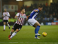 Sheffield United forward Billy Sharp (10) and Sheffield Wednesday defender Tom Lees (15) contest a loose ball during the EFL Sky Bet Championship match between Sheffield United and Sheffield Wednesday at Bramall Lane, Sheffield, England on 9 November 2018.