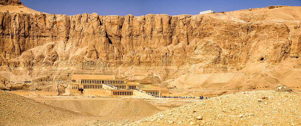 The Mortuary Temple of Queen Hatshepsut,  located beneath the cliffs at Deir el-Bahari on the west bank of the Nile near the Valley of the Kings